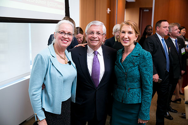 David Stern, former NBA commissioner and Carly Fiorina, former CEO, Hewlett-Packard