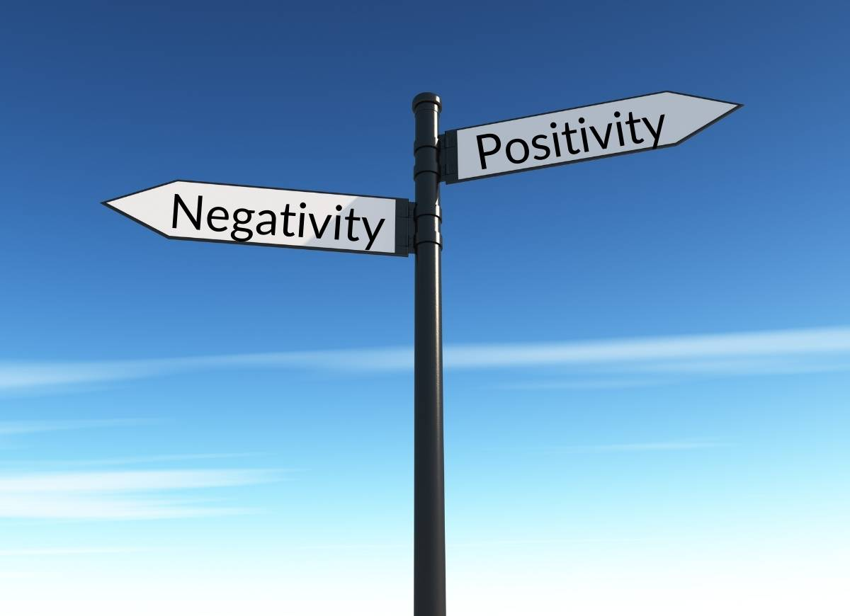 "Choose Your Attitude - a signpost with two signs pointing opposite each other ""Negativity"" and ""Positivity"""